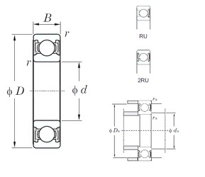 180 mm x 280 mm x 46 mm  KOYO 6036-2RU deep groove ball bearings