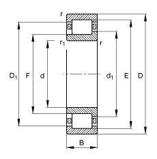 220 mm x 400 mm x 65 mm  FAG NJ244-E-M1 cylindrical roller bearings