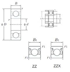 5 mm x 19 mm x 6 mm  KOYO 635ZZ deep groove ball bearings