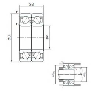 180 mm x 280 mm x 46 mm  NACHI 7036DB angular contact ball bearings