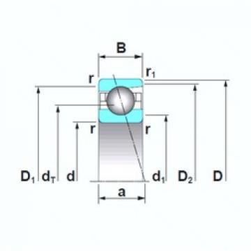 180 mm x 250 mm x 33 mm  NSK 7936CTRSU angular contact ball bearings