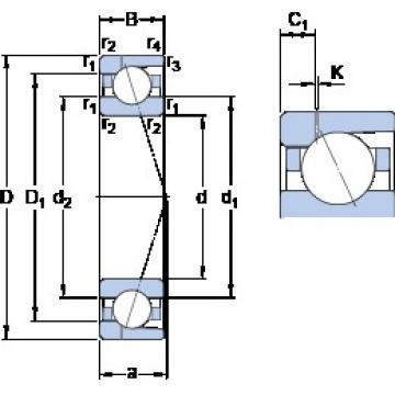 100 mm x 150 mm x 24 mm  SKF 7020 ACD/P4AH1 angular contact ball bearings