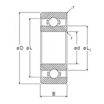 5 mm x 19 mm x 6 mm  NMB R-1950 deep groove ball bearings